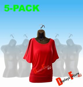5 pack Female Mannequin Forms Hooks Body Display Women Dress T shirts Black