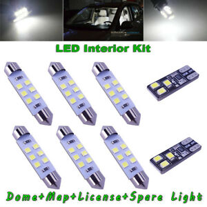 8x White Led Dome Map License Plate Light Bulbs Interior Led Kit Package For Car