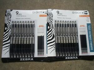 New 2 X 9 Packs Zebra G 301 Steel Retractable Gel Pen With 0 7mm Medium Point