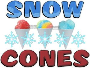 Snow Cones Vinyl Decal choose Size Concession Stand Boardwalk