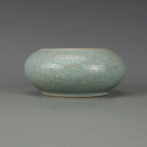 Chinese Old Ru Kiln Pink Green Ice Crackle Glaze Porcelain Brush Washer