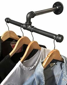 Industrial Pipe Wall Mount Clothing Garment Rack Retail Display Storage Laundry