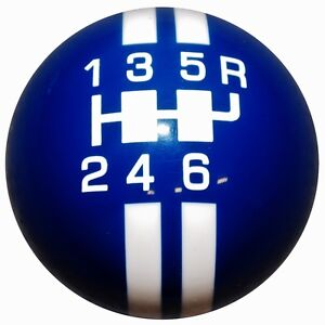 Gt500 6 Speed Shift Knob Rally Blue W White Stripes 2010 14 M10x1 25 Th