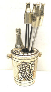 Antique Silver Plate Fondue Fork Set Grape Wine Champagne Bucket Wine Bottles