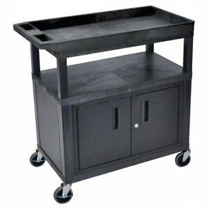 Luxor High Capacity 2 Flat And 1 Tub Shelf Cart With Cabinet And Optional