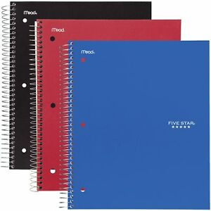 Five Star Wirebound Notebook 3 subject College ruled 11 X 8 1 2 Assorted