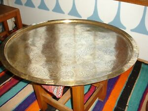 Large Moroccan Brass Gold Colour Round Tray Wood Shell Table
