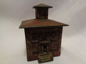1872 Antique Small Cast Iron Je Stevens Cupola Coin Still Bank Orig Red Paint