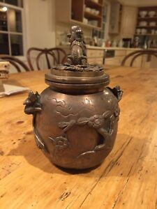 Antique Chinese Bronze Copper Dragon Incense Burner Censer Lidded Foo Dog