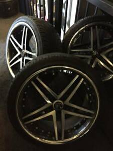 20 Wheel Rohana Rc 5 Black Machine Face Chrome Lip Used