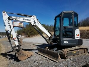 Bobcat E35m Compact Excavator With Hydraulic Thumb Enclosed Cab Heat air