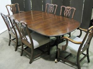 Statton Furniture Solid Cherry Federal Style Dining Table 6 Chippendale Chairs