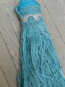 Antique Pure Silk Piano Shawl Fringe Turquoise Blue 16 33 Continuous Feet