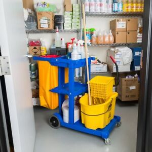 Cleaning Cart Janitor 3 Shelves Vinyl Bag Lavex Janitorial Casters Storage Hotel