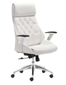 Zuo Modern Faux Leather Mid back Boutique Office Chair White chrome
