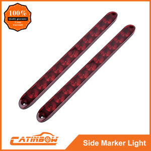 2pc 15 11 Led Red Sealed Trailer Truck Rv Stop Tail Rear Brake Turn Light Bar