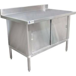 Commercial Stainless Steel Work Prep Table Cabinet 30 X 60 With Backsplash