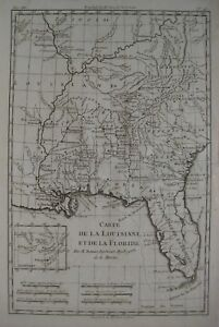 Original 1780 Bonne Map Southeast Us Florida Louisiana Georgia Indian Tribes
