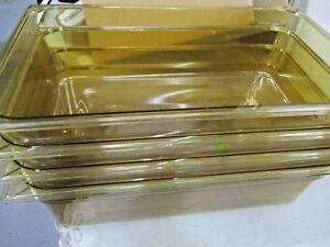 10402b13 Storplus Full Size Food Pan Hh 6 Dp Full Size Amber Lot Of 4