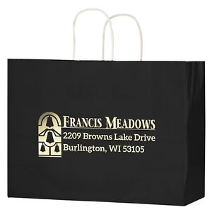 100 Custom Gloss Color Twisted Paper Handle Shopper Bag Foil Stamp W Logo text