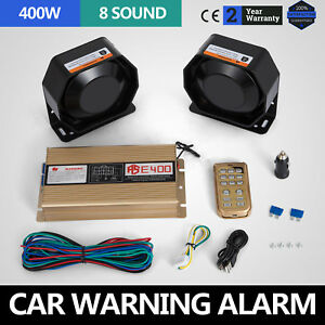 Can 400w 12v 8 Sound Loud Car Warning Alarm Police Fire Siren Pa Mic System Top