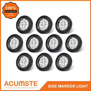 10pc 2 Round Led Marker Lights 9led Reflector Clear amber Kits Grommet pigtail