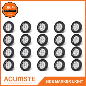 20pc 2 Round Led Marker Lights 9led Reflector Clear amber Kits Grommet pigtail