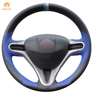Black Blue Leather Steering Wheel Cover For Honda Fit 2009 2013 City Jazz bt37