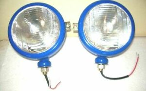 Ford Tractor Head Light Set Blue Color Lh Rh 12 V