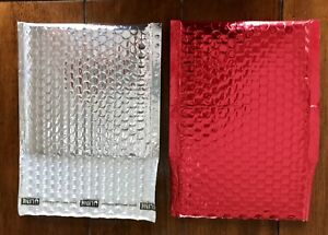 glamour Bubble Mailers 7 x6 Red Silver 72 case Brand New Uline