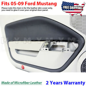 Fits 05 09 Ford Mustang Leather Door Panel Insert Cards Cover 2pcs Black