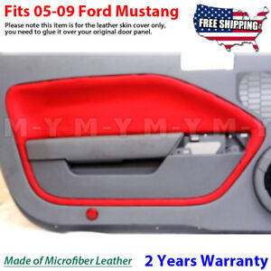 Fits 2005 2009 Ford Mustang Leather Door Panel Insert Cards 2pcs Red