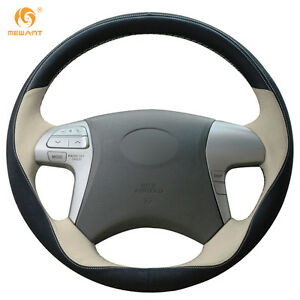 Black Suede Beige Leather Steering Wheel Cover For Toyota Highlander Camry xc06