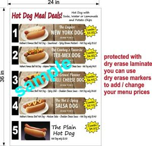 Custom Menu Decal 2 X 3 Dry Erase Laminate Your Photos Or Ours Food Truck New