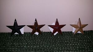 Set Of 4 Metal 3 5 Barn Stars Ornaments Black Rusty Burgundy Mustard