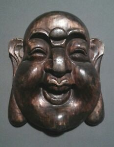 Vintage Chinese Hand Carved Large Buddha Face Hanging 11 Inches