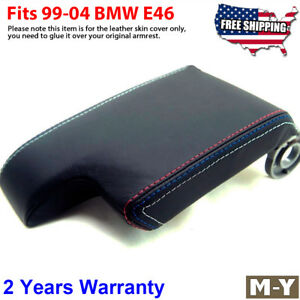 Fits 99 04 Bmw E46 M3 Black Leather Console Lid Armrest Cover M Sports Stitch
