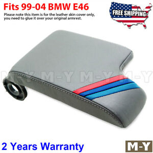 Fits 99 04 Bmw E46 Gray Leather Console Lid Armrest Cover M3 M Sport Stripes