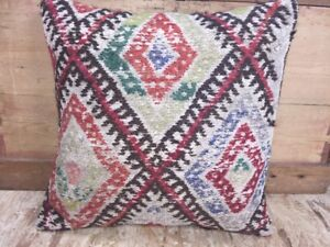 Kilim Rug Carpet Pillow Aged Colors 19 X 19 Hemp Wool Cotton Cover Only Cicim