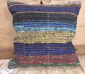 Kilim Rug Carpet Pillow Jewel Tones 19 X 19 Goat Hair Cover Only 70 S
