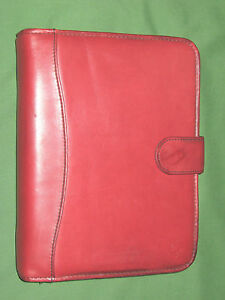 Classic 1 25 Red Genuine Leather Franklin Covey Planner Binder Organizer 4372