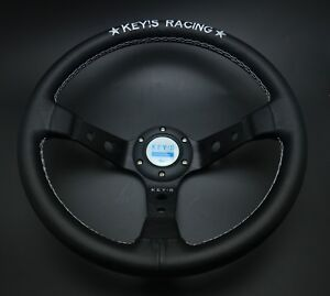 340mm Leather Deep Dish Steering Wheel Key s Drifting For Momo Hub Omp Racing