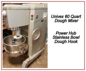 60 Qt Dough Mixer Power Hub Stainless Bowl 3 Phase Tested Univex M60