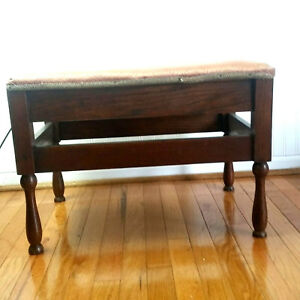 Antique Padded Vanity Bench Furniture Piano Stool Chair Ottoman Dark Wood