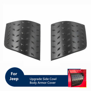 For 1997 2006 Tj Jeep Wrangler Hood Side Cowl Body Armor Cowl Cover Parts Black