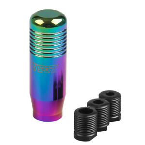 Tt Universal Cylinder Gear Shift Knob With 3 Adapters Neo Chrome