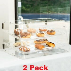 2 Tray Bakery Case Counter Display Front Rear Doors Pastry Cakes Donuts 2 Tier