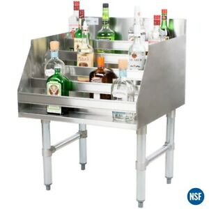 24 Five tiered Stainless Steel Bar Liquor Display Rack 23 Deep Speed Rail