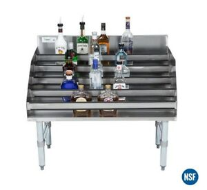 Commercial 36 Five tiered Stainless Steel Liquor Bottle Display Rack 23 Deep