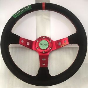 350mm Dia Suede Leather Deep Dish Drifting Steering Wheel Red Spoke For Momo Hub
